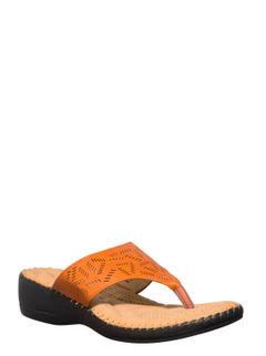 Softouch Women Orange Flat Slip-On