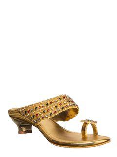 Khadim Women Gold Heel Slip-On